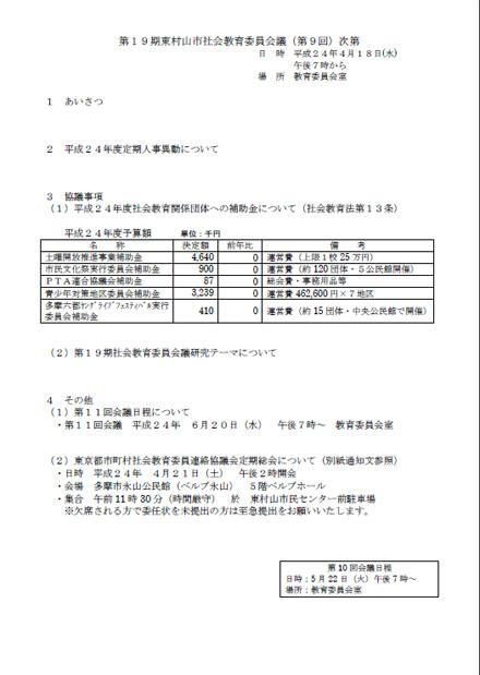 2012年4月18日開催の社会教育委員会議の会議次第