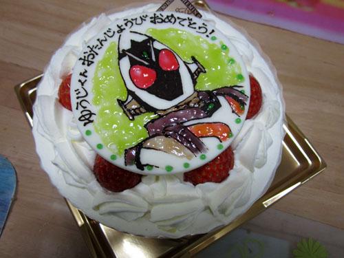 仮面ライダーフォーゼのイラスト入りケーキ