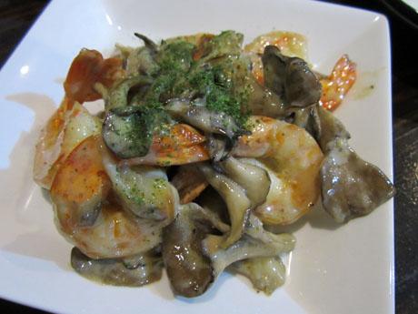 海老とマイタケのマヨ炒め
