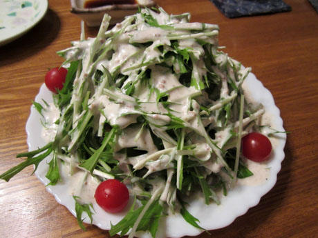 水菜とオコゲのサラダ