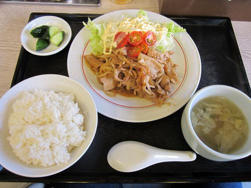生姜焼き、ライス・スープ付き