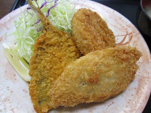 アジフライ、白身魚のフライ、メンチカツ