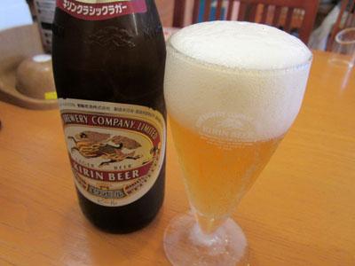 冷えた瓶ビールでお疲れさん!