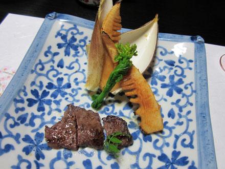 焼筍とコロコロステーキ
