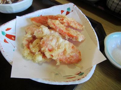 5枚食べたので金時人参の天ぷらがサービスで出て来た