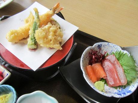 天ぷらと刺身