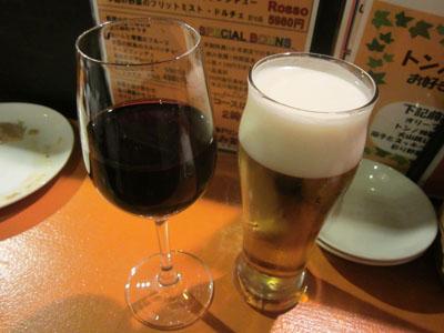 赤ワインとチェイサーに生ビール