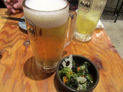 生ビールと小鉢