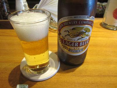 瓶ビールでお疲れさん