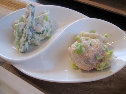 左がアスパラガスの白和え、右が里芋の明太子サラダ