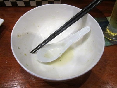 スープを飲み干して完食