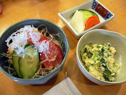 カニサラダと小鉢