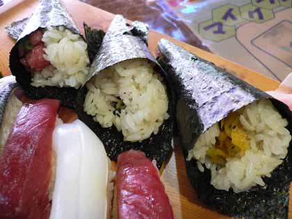 3つの手巻き寿司
