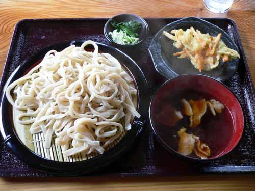 ざるうどん+肉汁+天ぷら