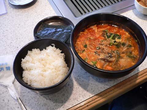 ご飯と海苔とユッケジャン
