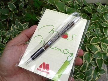 オープン記念のメモ帳とボールペン