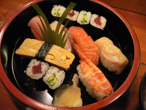 にぎり寿司のアップ