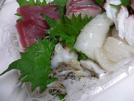 マグロにブリ、つぷ貝、イカ