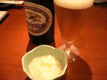 ビールで乾杯! お通しは湯葉