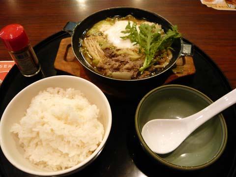 「きのこと野菜の牛鍋」&ご飯