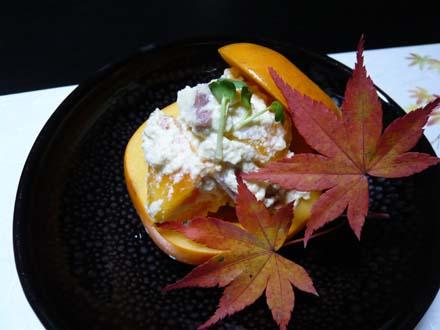 合鴨と柿の白和え