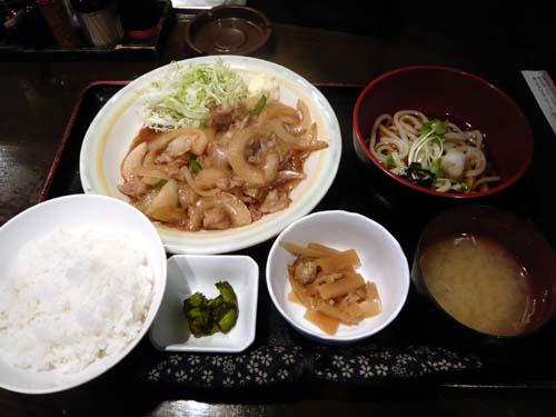 「豚生姜焼定食」+冷うどん