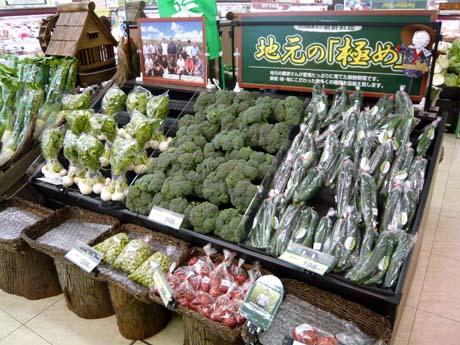 地元の野菜を扱ったコーナー