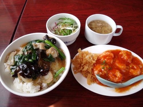 中華丼&海老のチリソースランチ