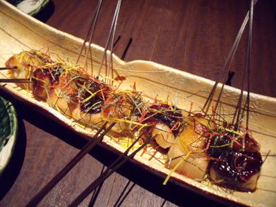 生麩のニ色田楽味噌焼き