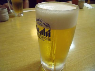 今回はまずは生ビールで乾杯