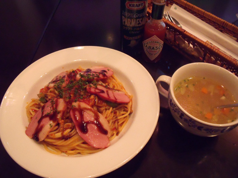 スープとカモスモークパスタ