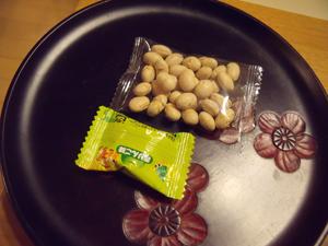 帰りにはアメと節分豆をいただいた
