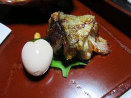 柿玉子と秋刀魚のベーコン巻き